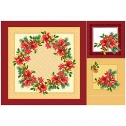 Декоративная саржаАмарилис с маленьким венком 1 скатерть и 2 салфетки