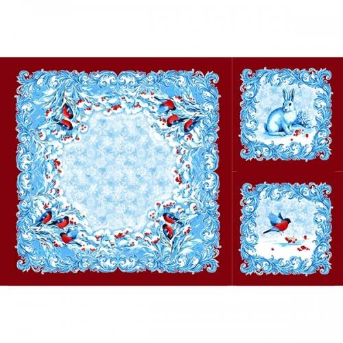 "Декоративная Саржа ""Снегири"" с красной каймой (1х1,5 м) крой 1 скатерть (1х1м) и 2 салфетки (0.45х0.45м) Цена 1 отреза 480 руб"