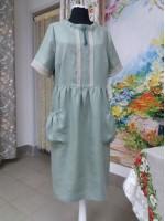 """Милое платье из 100% льняной ткани """"Травка"""""""