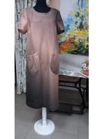 """Летнее платье из ткани """"Рассвет"""" (100 % лен) с эффектом """"деграде""""."""